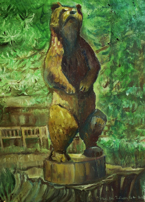 Giclee Print of an Original Oil Painting, Bear, California Golden Bear, University of California, Berkeley, The Lair of the Bear