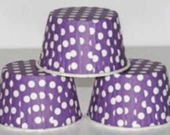 24 Purple polka dot baking cups,candy cups,nut cups,cupcake liners,treat favors