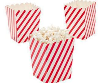 12 Mini Red and White Diagonal striped popcorn boxes treat favors