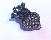 Pave' Crystal Crown Heart Jewelry Charm Gunmetal- 10 qty