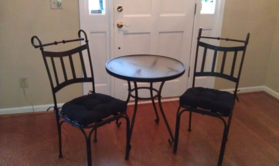 Wrought iron cafe table and 2 chairs with micro suede cushions for Wrought iron cafe chairs