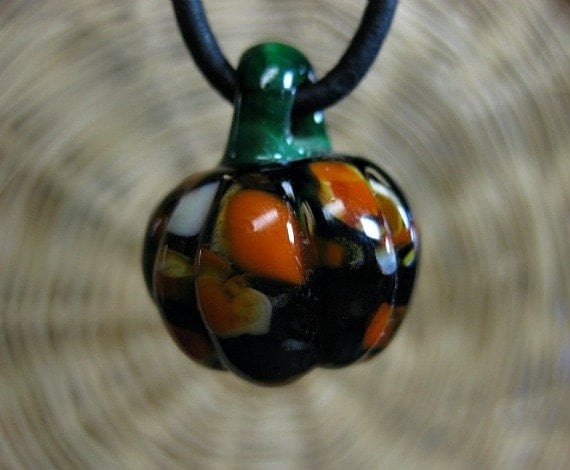 pumpkin necklace fall jewelry harvest by thirdwindstudio