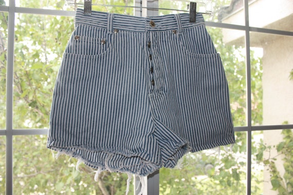 CLEARANCE High Waisted Blue and White Striped Vintage Lawman Shorts