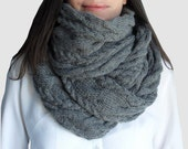 Hand knitted scarf, long knitted scarf, chunky cowl, chunky neckwarmer, long gray knitted scarf - strickschal