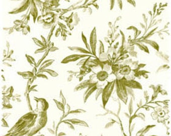 Garden of Enchantment 8076EG Cream background with lt. green birds, leaves, and flowers