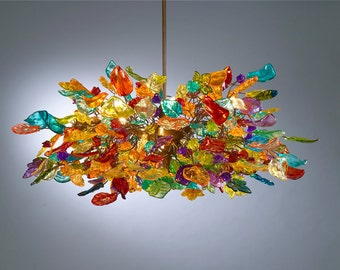 Lighting Colorful flowers and leaves Hanging Chandeliers for dinning room, modern and unique light for dinning table