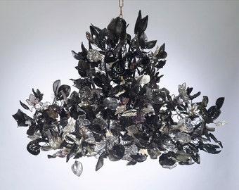 Royal Chandeliers Lighting hanging Chandeliers with Black leaves and flowers