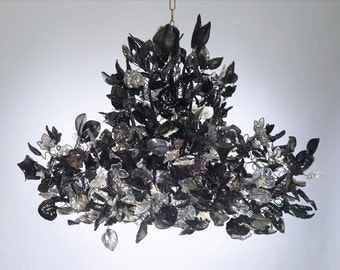 Royal Chandeliers Lighting with Black leaves and flowers, elegant black hanging Chandeliers