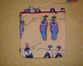 Flip Flop Print Pocket Purse Wristlet Cosmetics Bag