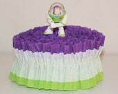 Buzz Lightyear Crepe Paper Ruffled Party Streamers - 20 feet - Purple, White, Light Green - Birthday, Decoration, Backdrop, Movie, Toy Story