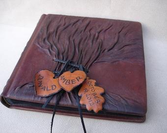 Leather Photo Album Tree of Life, Wedding Photo Album, Personalized Album, Brown Rustic Leather