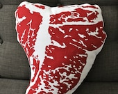 T-Bone Steak Meat Throw Pillow