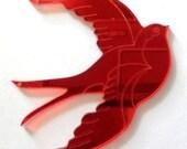 laser cut perspex acrylic mirror swallow pendant 1 piece