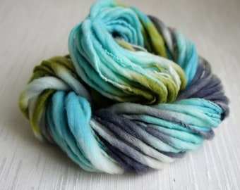 SALE: Handspun Yarn, Laguna, Thick and Thin Yarn, French Merino Art Yarn, knitting supplies crochet supplies, thick n thin