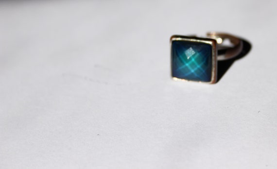 Vintage Square Faceted Ring - Brass with moodstone