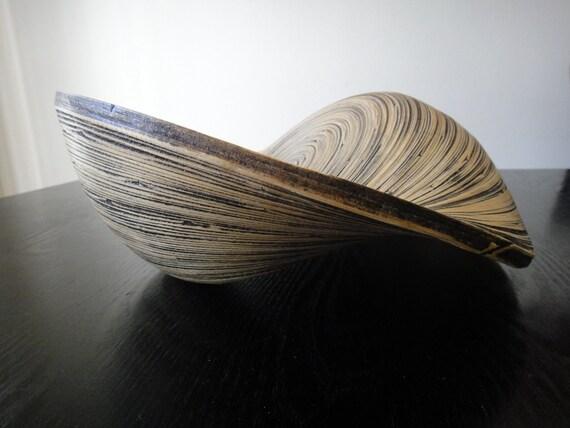 SALE Modern handcrafted wooden Twisted Snail Bowl  - center piece, art, fruit bowl - Medium