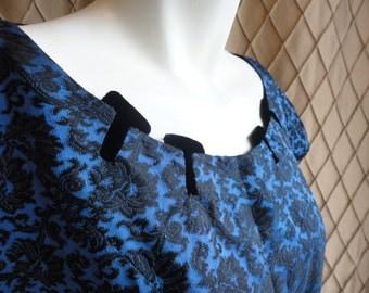 50s Dress // Vintage 1950s Blue and Black Velvet Flocked Dress with Velvet Inserts Size M