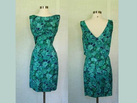 1950s/1960s Vintage Jerry Gilden Spectator Green & Blue Floral Wiggle Dress S