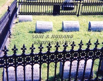 Cemetery Gravestones Full Color Photograph