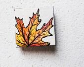 SALE: Fall Leaves 3.  Tiny Original Art.   Red.  Yellow.  Orange.   Original Art.  Home Decor.