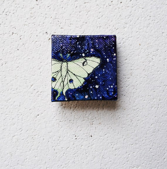 SALE: Luna Moth - Original Painting - 2x2 Insect Art.  Miniature Painting.