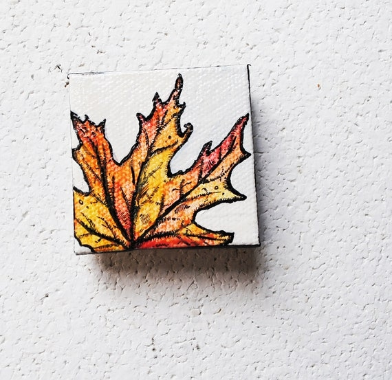 SALE: Fall Leaves 3.  Tiny Original Art.   Red.  Yellow.  Orange.   Original Art.  Home Decor.
