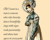 Jane Austen Quotes Postcard  Sense and Sensibility - All I want in a man is someone who rides bravely...