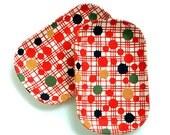 """Desk trays with geometric pattern, set of 2 Japanese trays """"Kudamono"""""""
