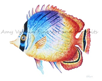 Butterfly Fish- 5x7 watercolor tropical fish print