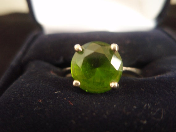 Peridot Ring in Sterling Silver Size 8