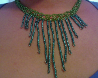Green and turquoise Bib Necklace