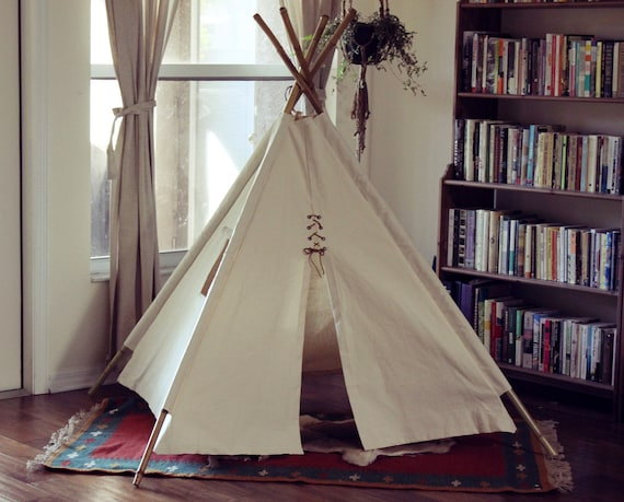 Canvas Teepee with Window and Bamboo Poles