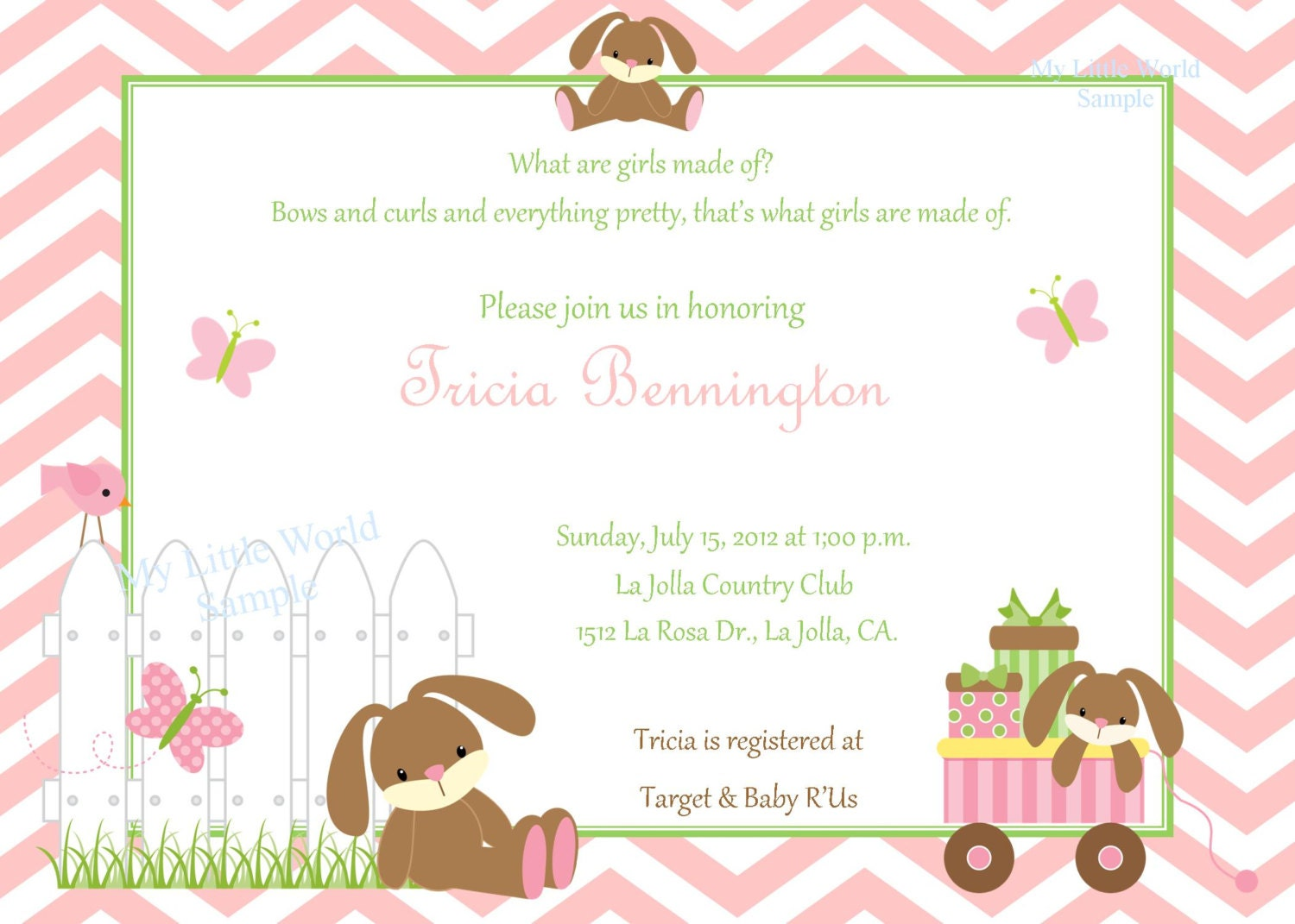 baby shower invitation with cute brown bunnies by skspartystudio
