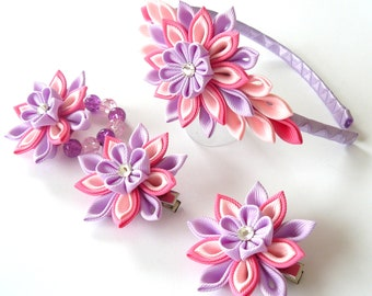 Kanzashi fabric flowers. Set of 4 pieces.  Hot pink, lt. pink and orchid.