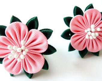 Kanzashi fabric flowers. Set of 2 ponytails. Pink and green.