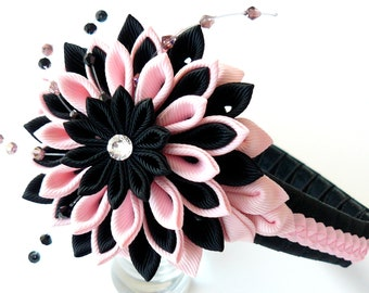Kanzashi Fabric Flower headband.  Lt. pink and black.