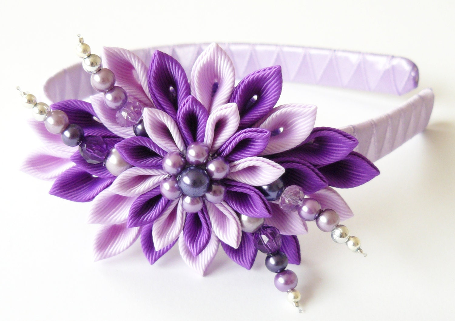 Kanzashi Fabric Flower Headband Purple And Violet Lotus