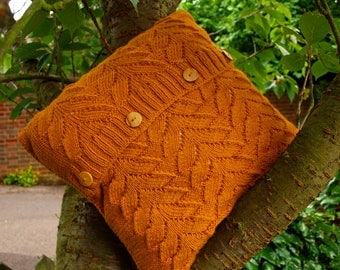 Hand knitted cushion cover - Amber