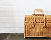 Vintage Wicker Picnic basket with interlocking handles vintage decor vintage housewares