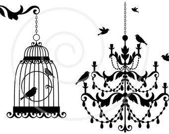 Vintage chandelier with birds and birdcage, lamp, clipart, clip art, digital, download, home decor, baroque, antique, cottage chic, SVG file