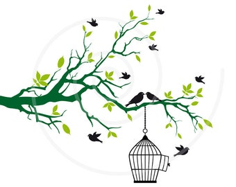 Free birds with open birdcage on tree branch, green leaves, clip art, clipart, clip-art, drawing, illustration, home decor, vector, download