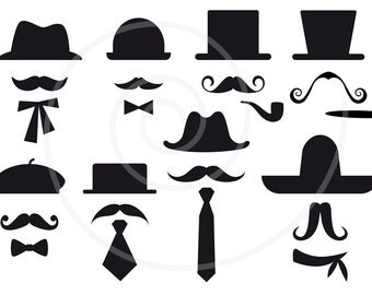 16 mustache silhouettes with hats, digital clip art, clipart, photo booth props, printable, commercial use, SVG file, instant download