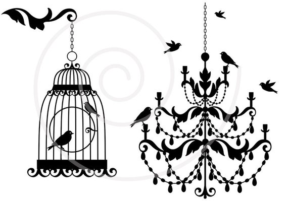 vintage chandelier with birds and birdcage lamp clipart. Black Bedroom Furniture Sets. Home Design Ideas