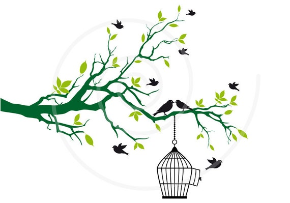 Free Birds With Open Birdcage On Tree Branch Green Leaves Clip Art