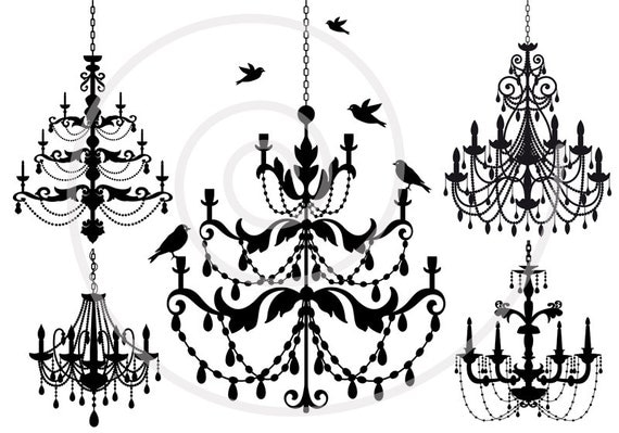 Vintage chandelier clip art set with birds digital clipart vintage chandelier clip art set with birds digital clipart scrapbooking home decor cottage chic silhouette svg files instant download mozeypictures Choice Image