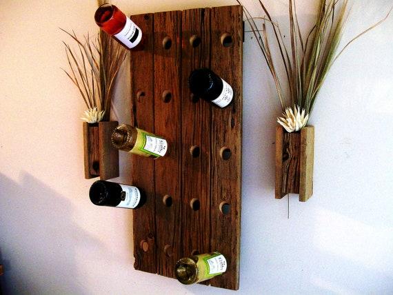 Rustic / Reclaimed / Barn Wood Wine Bottle Rack / Riddling Rack