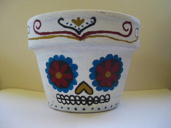 Handpainted Mexican skull inspired plant pot