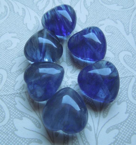 Blue Glass Heart Beads - approx 18mm
