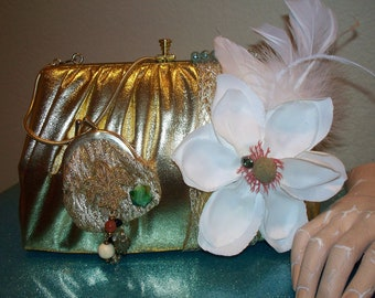 Vintage gold 1970's upcycled vintage jewelry accented OOAK handbag