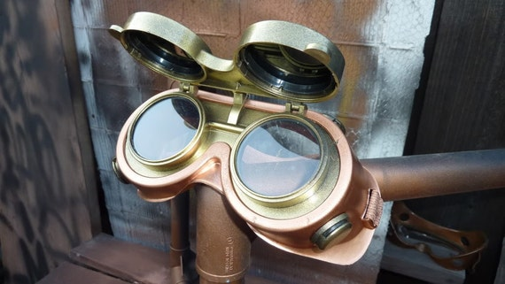 STEAMPUNK GOGGLES flip up lenses VENTED Soft Face fits over glasses